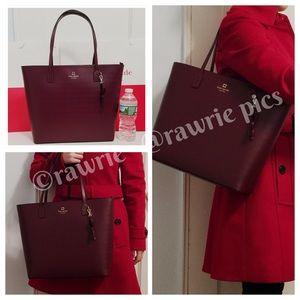 New Kate Spade burgundy leather large zip tote