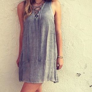 Dresses & Skirts - Baby blue lace up dress
