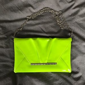 ALDO neon yellow/green clutch with chain strap