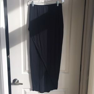 Mossimo Black Maxi Skirt with Asymmetrical Hem