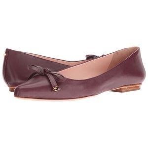 SALE! 💐 Kate Spade Merlot Leather Bow Flats