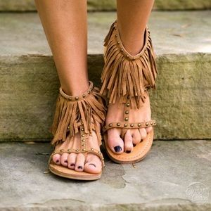 Boutique Shoes - Boho Gladiator Fringe Sandals