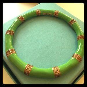 Lime green and gold bamboo bangle