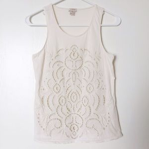 J. Crew Factory Tops - J.Crew Factory ivory lace-front tank top size XXS