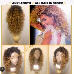 Platinum blonde curly wig