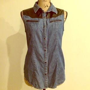 Forever 21 Denim Leather Style Sleeveless Vest