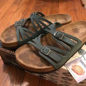 Birkenstock Granada teal oiled leather sandals