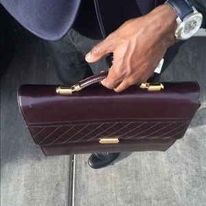 Men's Burgundy Leather Briefcase w/ Gold-toned 16""