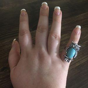 🦉 Turquoise & Rhinestone Boho Adjustable Owl Ring