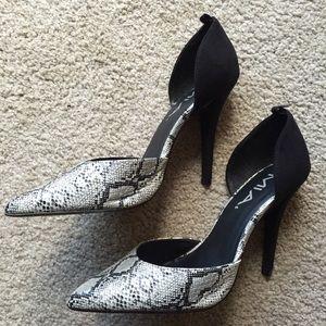Black + snake print heels