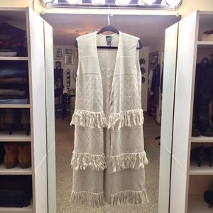 Long Fringe Duster Vest