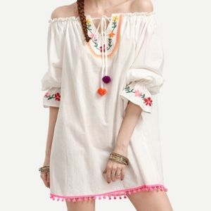 Off shoulder embroidered Shift dress. Price firm