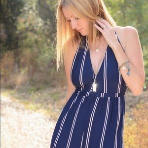 olivaceous Pants - Navy striped jumpsuit