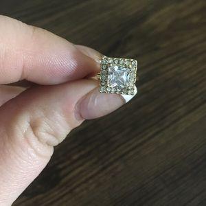 5/$25 SALE - Gold Tone Rhinestone Adjustable Ring