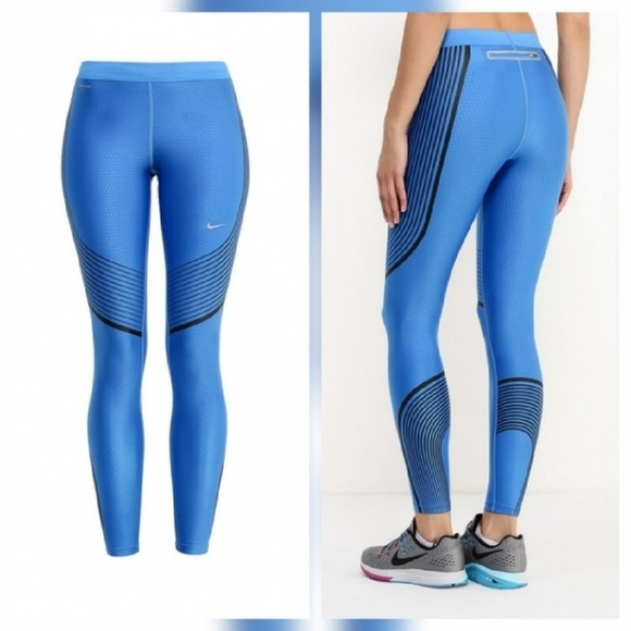 82% off Nike Pants - Nike Power Running Tights Legging Pants Blue ...