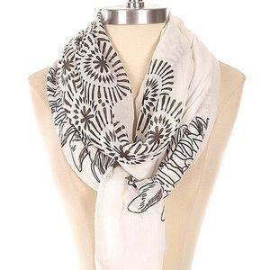 Accessories - Floral print fringe scarf