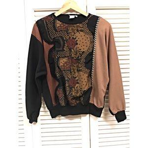 **VINTAGE** Earthy Floral Panel Sweatshirt
