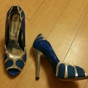 Liliana Shoes - Blue and silver heels