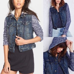 NWT free people knit denim hooded jacket s