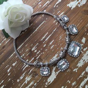 New Silver & Crystal Bib Statement Necklace