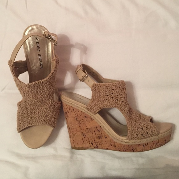 8c7fed60f98d Audrey Brooke Shoes - Audrey Brooke Macrame Wedge Sandal - Worn Twice