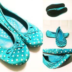 Splash Shoes - Turquoise Satin Polka Dot Ballet Flats