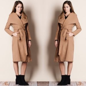 1DAYSALE Wide Collar Taupe Jacket Coat