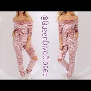 Pants - Light pink rose off shoulder velvet jumpsuit
