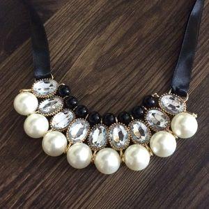 Black Faux Pearl & Rhinestone Chunky Necklace