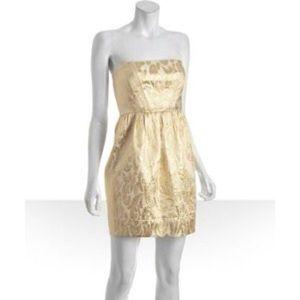 Shoshanna Gold strapless brocade dress size 4