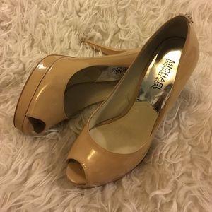 MICHAEL Michael Kors Shoes - Michael Michael Kors Beige Open Toe Platform Pumps