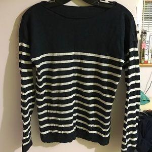 Uniqlo Sweaters - Linen Striped Boatneck Sweater