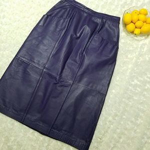Jacqueline Ferrar Dresses & Skirts - Vintage 90's Purple Leather Skirt