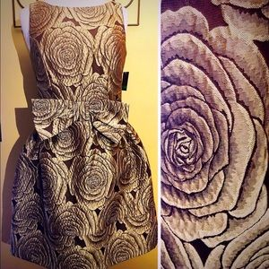 Taylor Dresses & Skirts - Taylor Dress Fit & Flare Rich Brown & Gold Brocade
