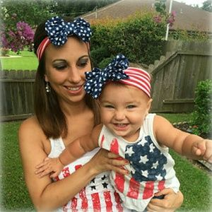 Other - 4th Of July Print Stars Denim Bow Headband 2 piece