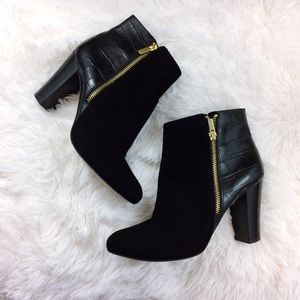 Ann Taylor Shoes - ANN TAYLOR black leather+suede zippered ankle boot