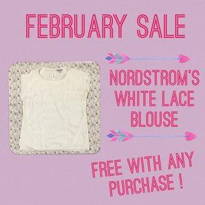 Nordstrom Tops - Faith & Joy White Lace Blouse