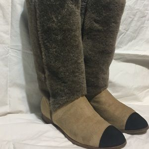 Authentic Chanel mid-calf pull-on boots