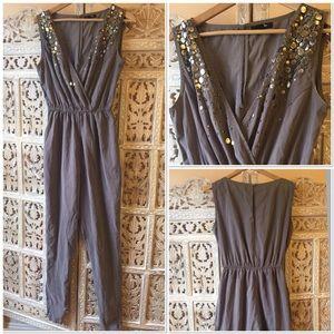 ryu Pants - Grey romper size S with metal embellishments