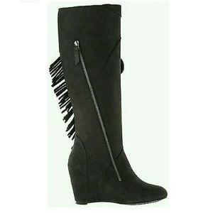 c038f03b0a88 Koolaburra Shoes - Koolaburra Paradis Black Wedge Boot with Fringe
