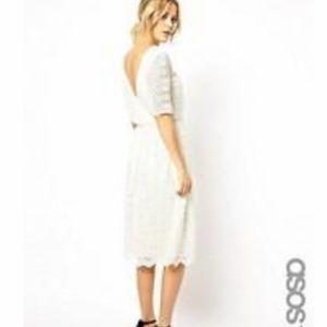 ASOS Tall White Lace Midi Dress 0 (U.K. 4)