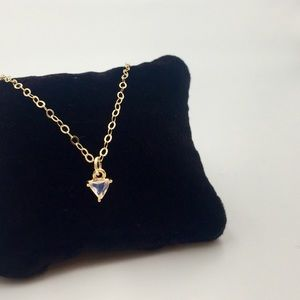 Jewelry - Dainty pink opal triangle gold choker or necklace
