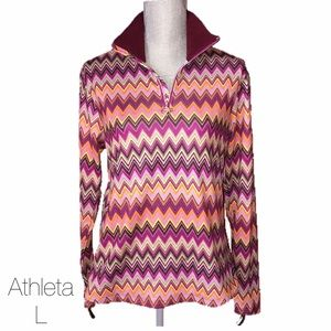 Athleta Jackets & Blazers - Athleta Multicolored Chevron Half Zip Jacket L