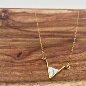 Triangle howlite white marble bar gold necklace