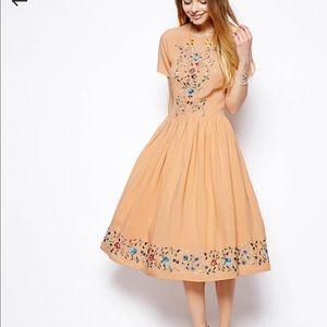ASOS Orange Midi Embroidered Dress 0 (U.K. 4)