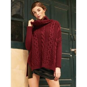 ✨Burgundy Knit Off The Shoulder High Low Sweater✨