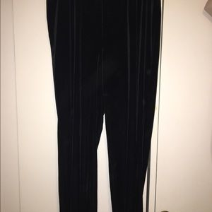 Black stretchy velvet pants