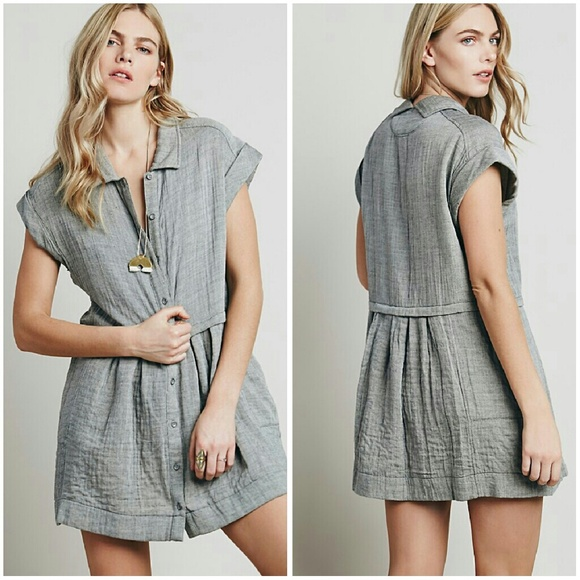 be9fd11cad3397 Free People Dresses   Skirts - Free People New Moon Baby Doll Dress Small  Gray