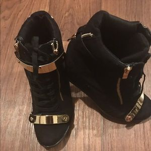 Forever Shoes - Stylish Women's Black High Top Sneakers/ Wedges