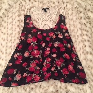 Forever 21 Tops - Forever 21 Floral and Crochet Lace Tank Top